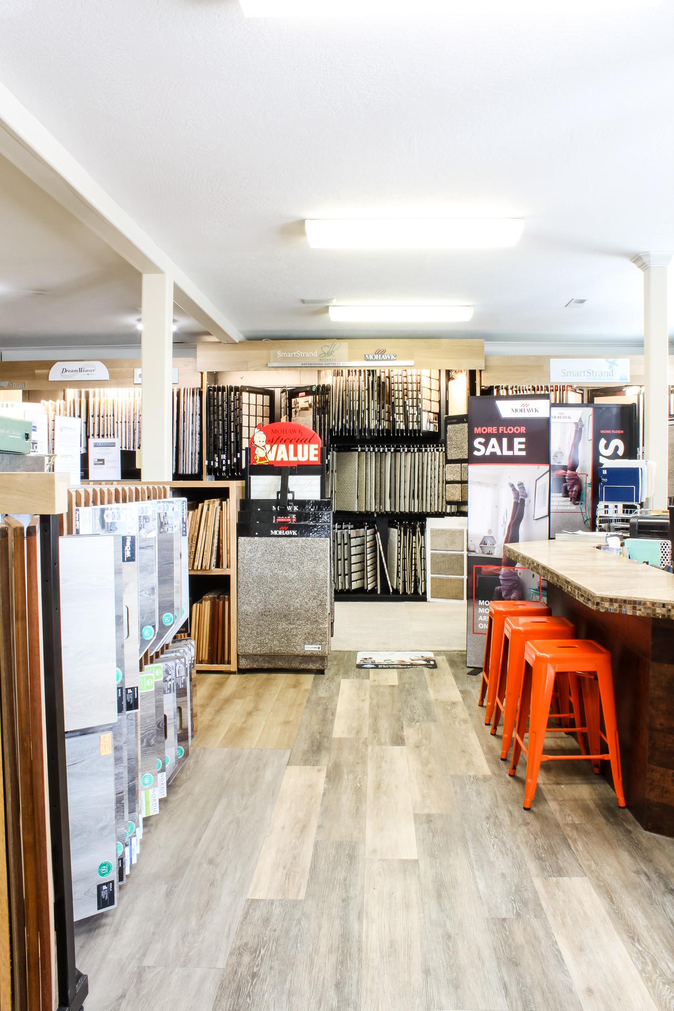 The showroom at Pyne Floor Coverings in Pleasant Grove Utah