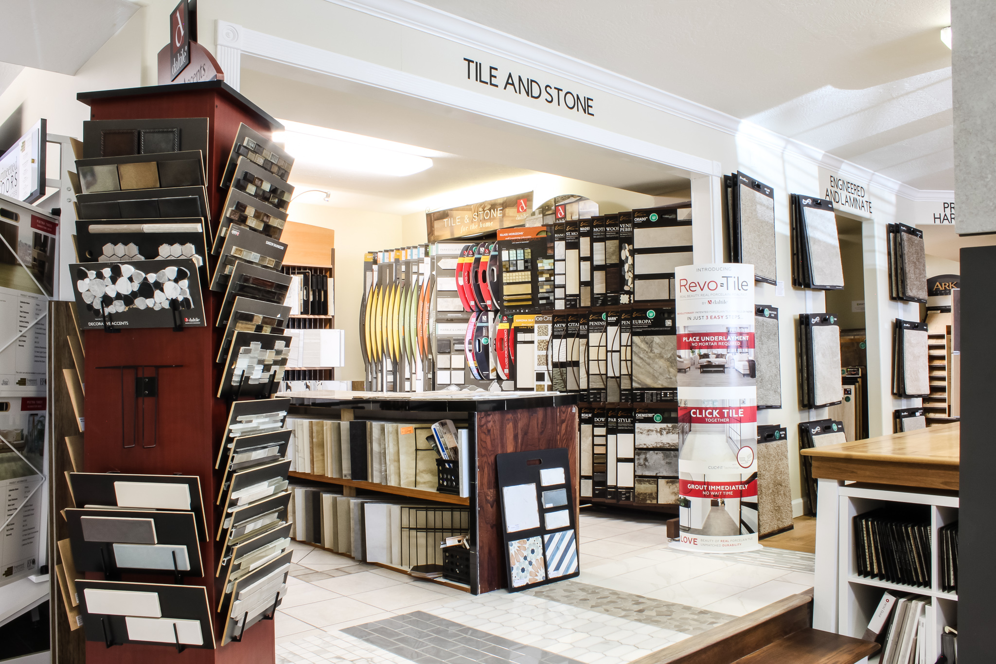 Lots of selections of tile in the Pyne Floor Coverings showroom