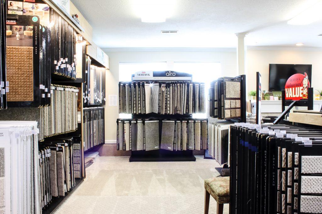 Custom carpet sample displays in the showroom at Pyne Floor Coverings