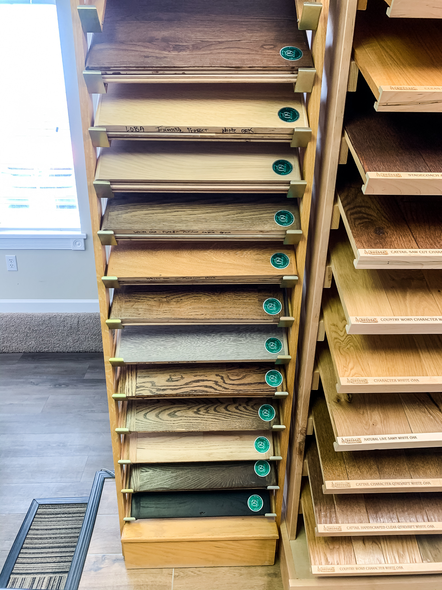 One of our custom stain racks here at Pyne Floor Coverings   PFC